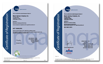 Myers Spring is IATF 16949, ISO 9001 & ISO 14001 certified.